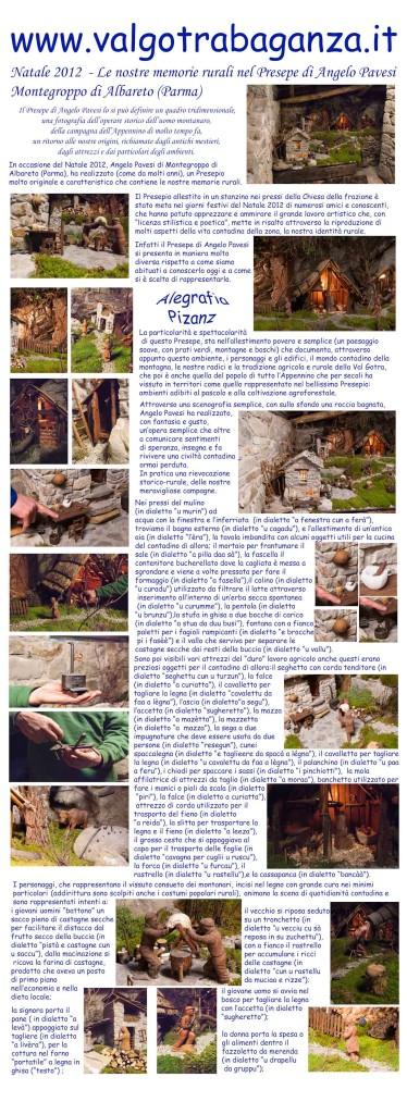 Manifesto vela Natale 2012 – Le nostre memorie rurali nel Presepe di Angelo Pavesi – Montegroppo di Albareto (Parma)