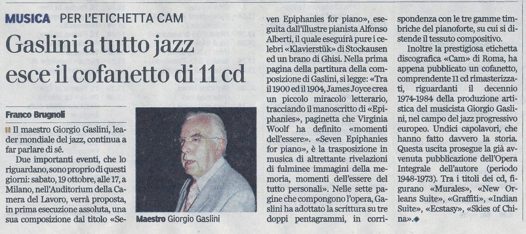 G. Gaslini rassegna stampa curiosità 15-10-2013