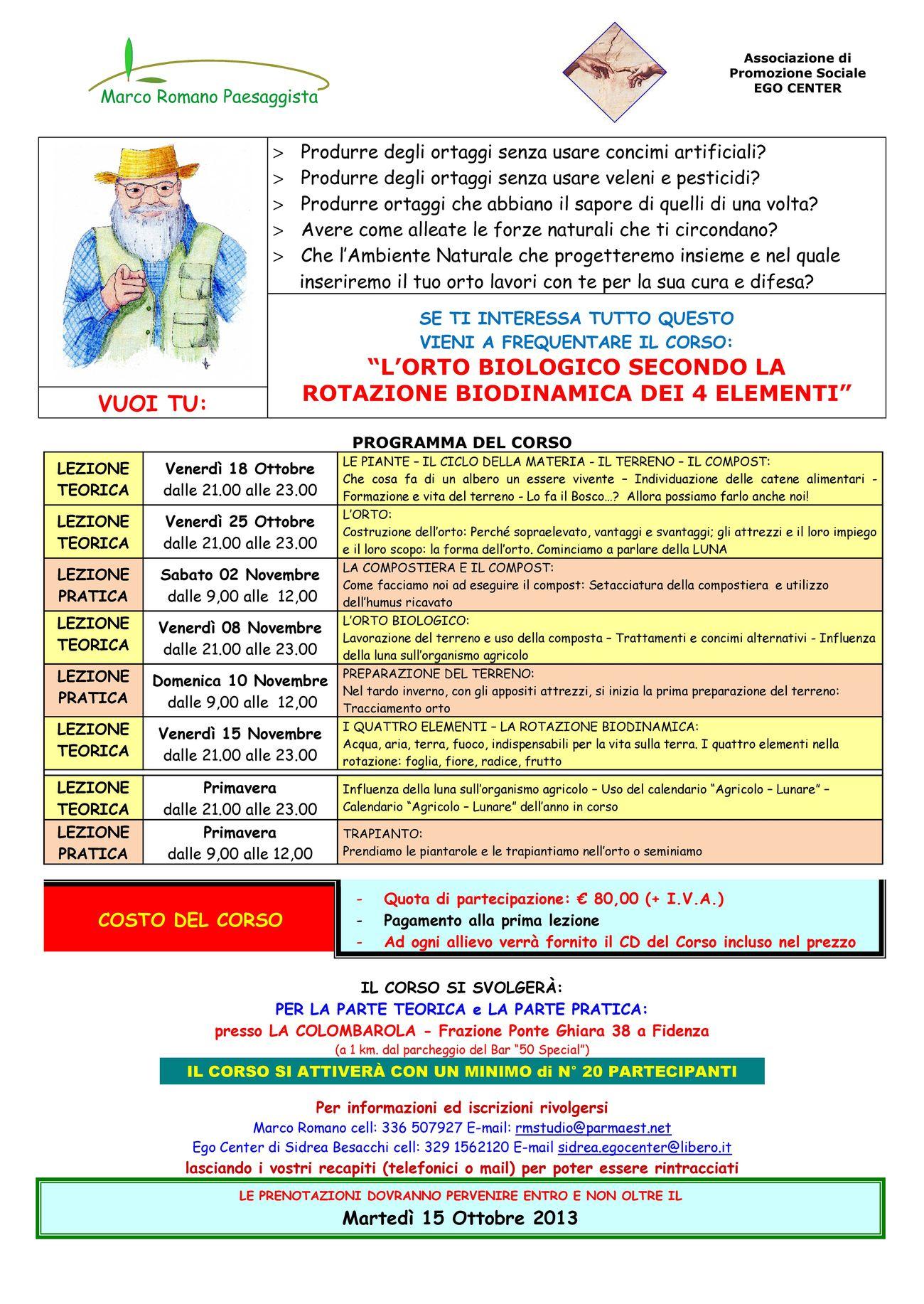 Calendario Trapianti Orto Pdf.Corso L Orto Biologico Secondo La Rotazione Biodinamica Dei