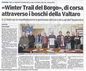 """Articolo Gazzetta - 1° edizione del """"Winter Trail del Borgo 2011"""""""