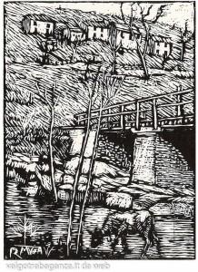 Il ponte del diavolo - xilografia di Romeo Musa