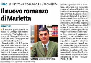 """Gazzetta di Parma 13 dicembre 2014 Giuseppe Marletta """"Il Coraggio e la Promessa""""."""