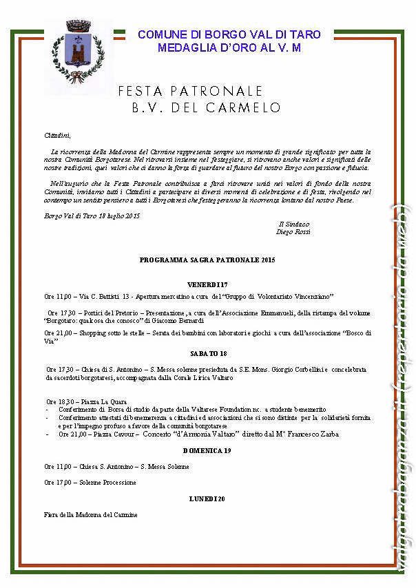 Madonna del Carmine 2015 Programma