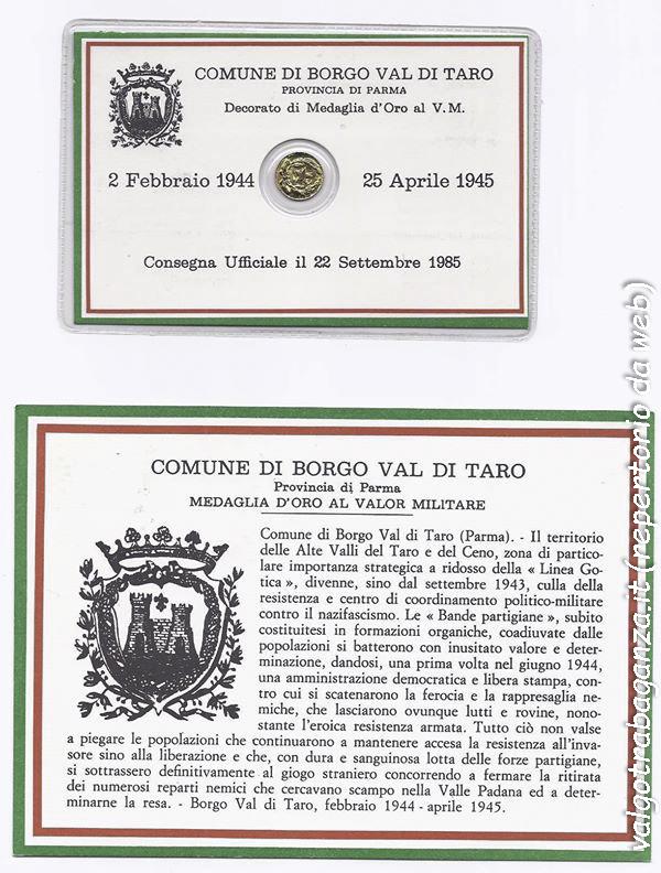 Medaglia d' Oro al Valor Militare Borgo Val di Taro