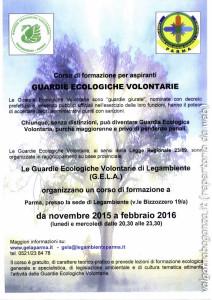 locandina Corso di formazione  Guardie Ecologiche Volontarie