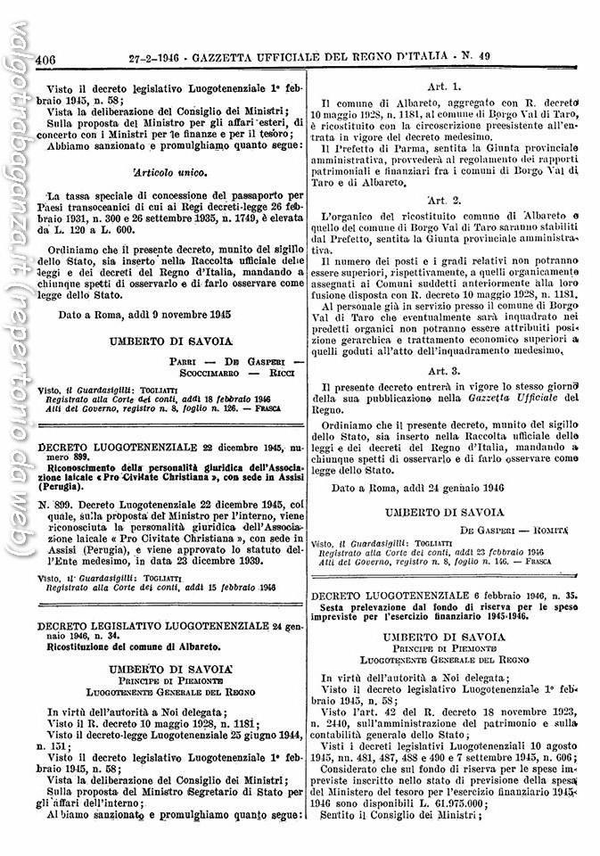 Albareto Decreto Legislativo 24 gennaio 1946
