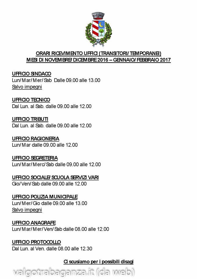 ORARI UFFICI aggiornato novembre 2016