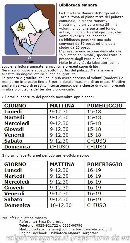 Borgotaro orari Biblioteca Manara