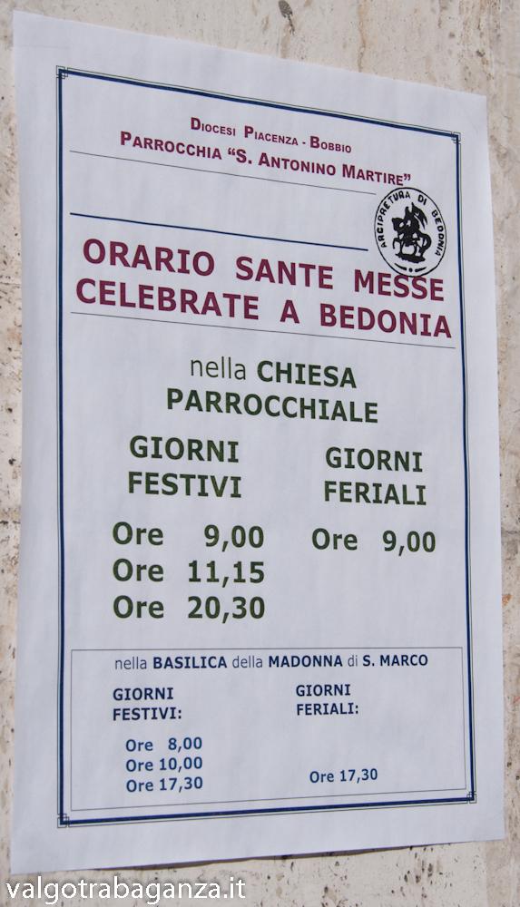 Avviso estate Santa Messa Bedonia Parma