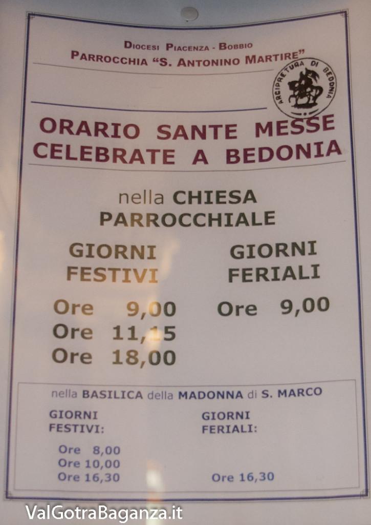 Avviso inverno Santa Messa Bedonia Parma