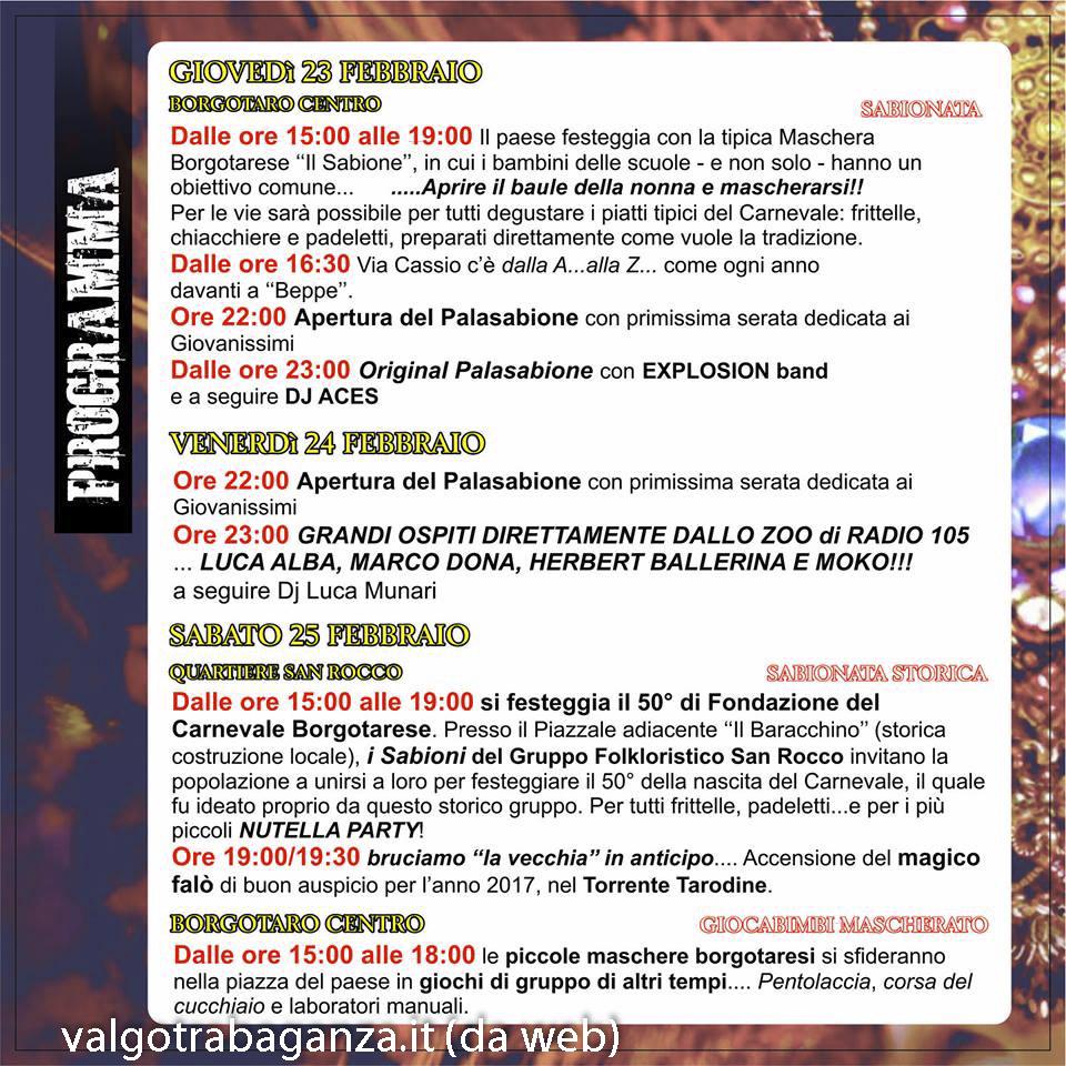 Borgo Val di Taro Carnevale programma 1