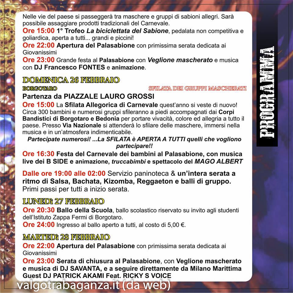 Borgo Val di Taro Carnevale programma 2