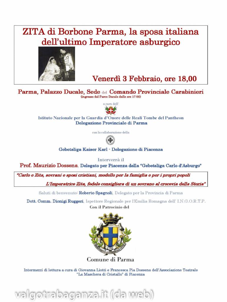 Locandina ZITA di Borbone Parma