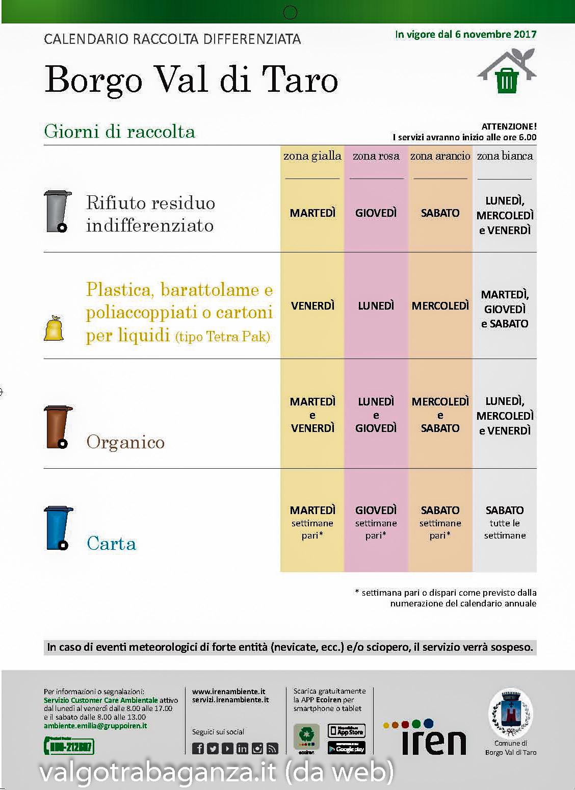 Caledario e opuscolo: Informazioni sulla raccolta dei rifiuti