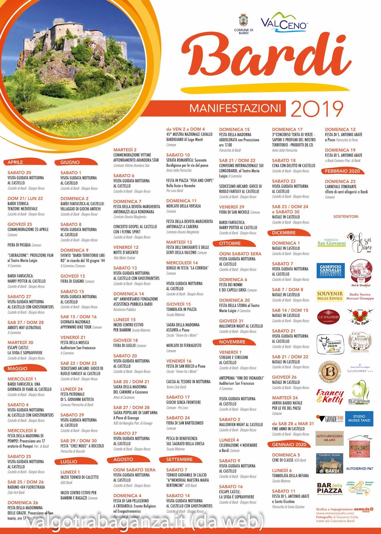 Calendario Lunare Capelli Febbraio 2020.Bardi Parma Eventi Appuntamenti E Manifestazioni 2019